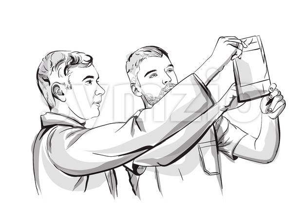 Two doctors analyzing an X-ray Vector sketch storyboard. Detailed character illustration Stock Vector