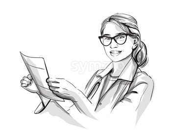 Happy woman doctor smiling Vector sketch storyboard. Detailed character illustration Stock Vector