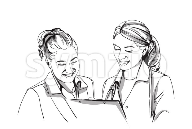 Happy two women doctors smiling Vector sketch storyboard. Detailed character illustration