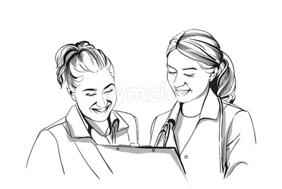 Happy two women doctors smiling Vector sketch storyboard. Detailed character illustration Stock Vector