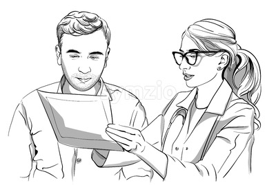 Woman doctor and patient Vector sketch storyboard. Detailed characters illustration Stock Vector