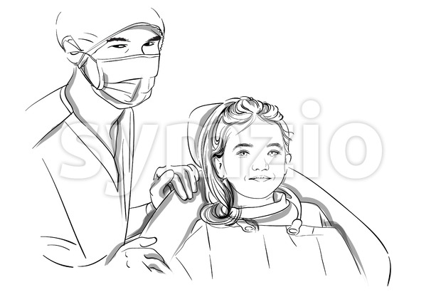Doctor and patient happy smiling Vector sketch storyboard. Detailed characters illustration Stock Vector
