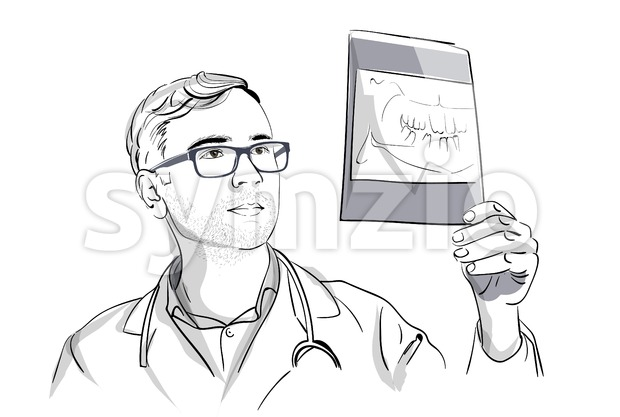 Dentist analyzing an X-ray Vector sketch storyboard. Detailed character illustration Stock Vector