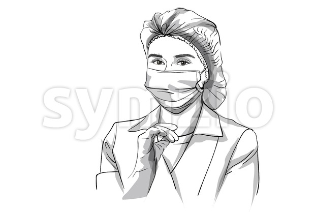 Woman doctor in a mask Vector sketch storyboard. Detailed character illustration Stock Vector