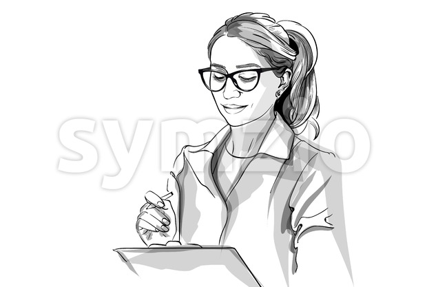 Woman doctor Vector sketch storyboard. Detailed character illustration Stock Vector