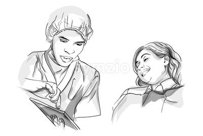 Doctor and patient Vector sketch storyboard. Detailed characters illustration Stock Vector
