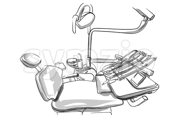 Dentist chair Vector sketch. Doctor utilities storyboard detailed illustration Stock Vector