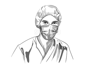 Doctor wearing a mask Vector sketch. Storyboard character detailed illustration Stock Vector