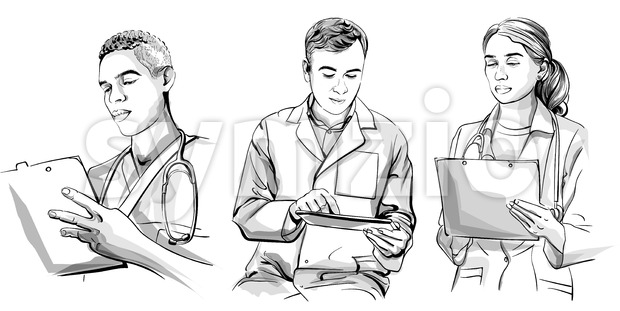 Doctors working set Vector sketch storyboard. Detailed character illustration Stock Vector