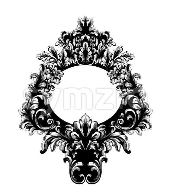 Rococo Baroque Mirror frame. Vector French Luxury rich intricate ornaments. Victorian Royal Style decor Stock Vector