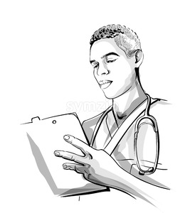 Doctor working Vector sketch storyboard. Detailed character illustration Stock Vector