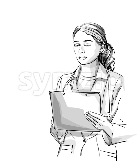 Woman doctor Vector sketch storyboard. Detailed character illustration