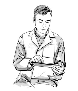 Doctor working on a tablet Vector sketch storyboard. Detailed character illustration Stock Vector