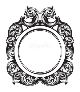 Baroque Mirror frame. Vector French Luxury rich intricate ornaments. Victorian Royal Style decor Stock Vector