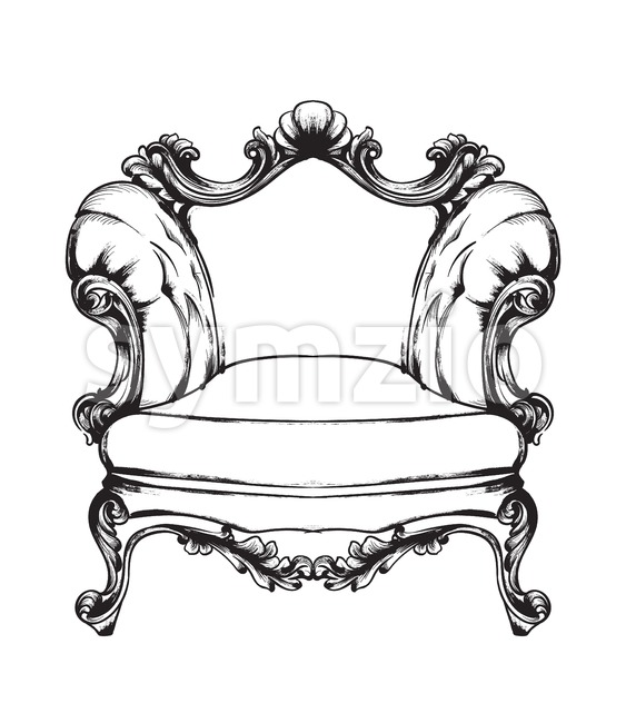 Baroque armchair Vector. Royal style decotations. Victorian ornaments engraved. Imperial furniture decor illustrations line art