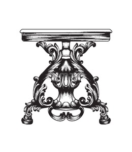 Baroque furniture table. Royal style decotations. Victorian ornaments engraved. Imperial furniture decor. Vector illustrations line art Stock Vector