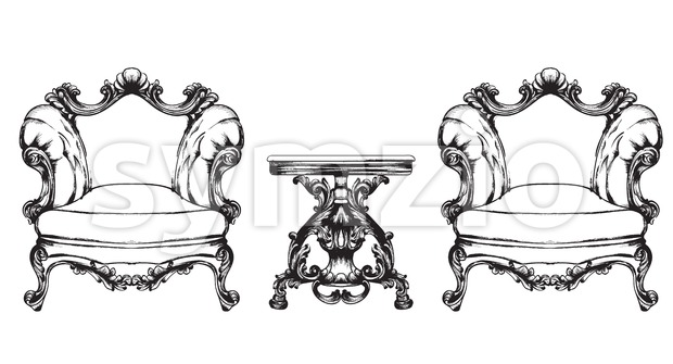 Baroque furniture armchairs and table. Royal style decotations. Victorian ornaments engraved. Imperial furniture decor. Vector illustrations line art Stock Vector