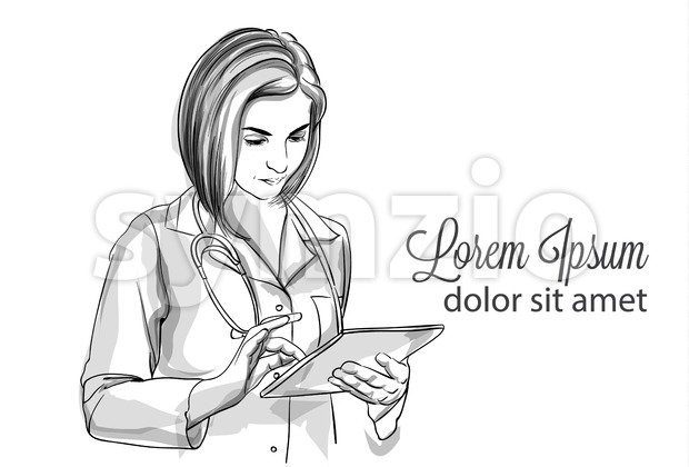 Woman doctor writing notes Vector sketch storyboard. Detailed character illustration Stock Vector
