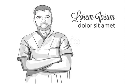 Succesful self confident doctor smiling Vector sketch storyboard. Detailed character illustration Stock Vector