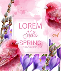 Hello spring card watercolor Vector with cute pink birds and flowers. Fucsia small birds. Vintage Color stains splash on background Stock Vector
