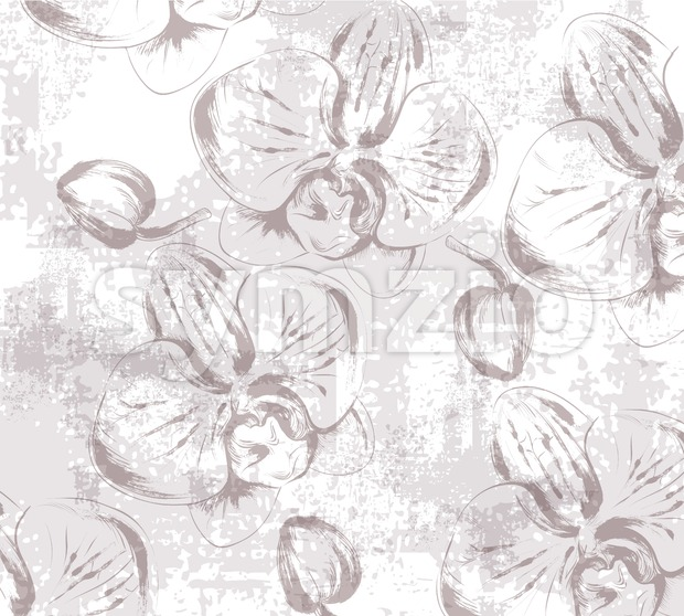 Orchid Floral texture pattern Vector. Floral ornament decoration. Victorian engraved retro design. Vintage fabric decors. Luxury fabrics Stock Vector