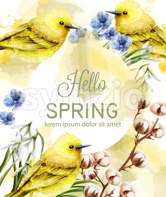 Hello spring card watercolor Vector with cute birds and flowers. Golden small birds. Vintage Color stains splash on background Stock Vector