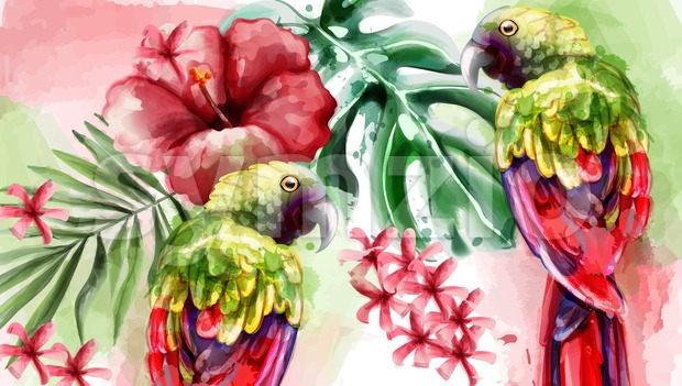 Tropic card watercolor Vector with colorful parrot bird and flower Stock Vector