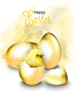 Happy Easter card with cute chicken Vector. Watercolor golden eggs illustration Stock Vector