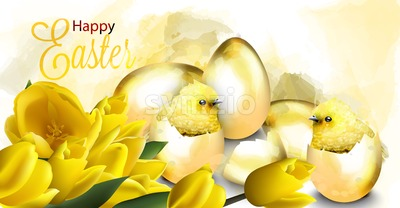 Happy Easter card with golden eggs and cute chicken Vector. Watercolor illustration Stock Vector