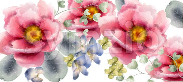 Flowers Vector watercolor. Beautiful exotic background decor Stock Vector