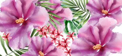 Tropic flowers Vector watercolor. Beautiful exotic background decor Stock Vector