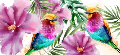 Colorful birds and flowers watercolor Vector. Tropic card background Stock Vector