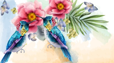 Colorful humming birds and flowers watercolor Vector. Tropic card background Stock Vector