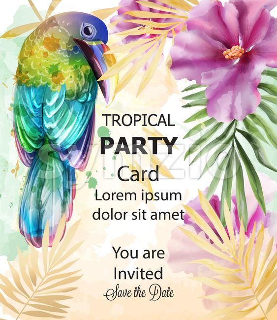 Tropic card watercolor Vector with colorful parrot bird and exotic flowers