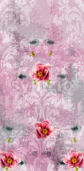 Baroque texture pattern with spring flowers Vector. Floral ornament decoration. Victorian engraved retro design. Vintage fabric decors. Luxury fabric