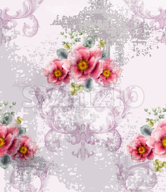 Baroque texture pattern with spring flowers Vector. Floral ornament decoration. Victorian engraved retro design. Vintage fabric decors. Luxury fabric Stock Vector