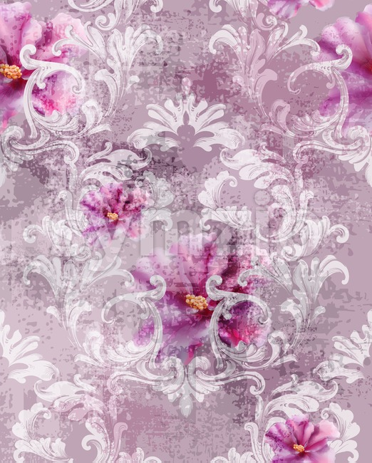 Baroque texture pattern with roses Vector. Floral ornament decoration. Victorian engraved retro design. Vintage fabric decors. Luxury fabric Stock Vector