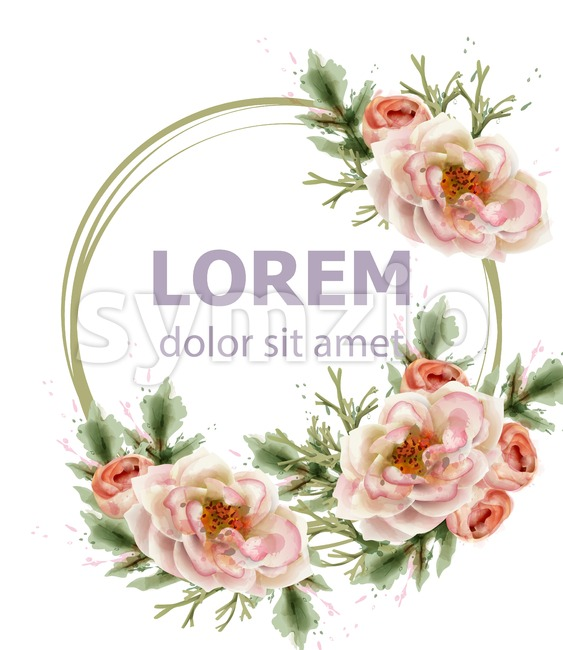 Rose flowers wreath watercolor Vector. Romantic floral invitation or greeting card decoration. Women day, Valentines Day, sales and other event Stock Vector