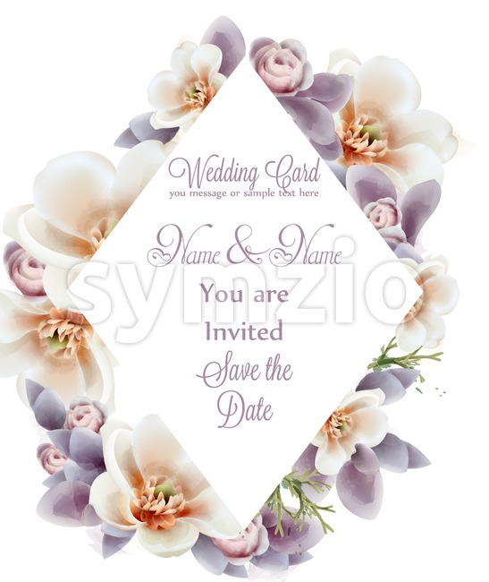 Spring flowers wedding invitation watercolor Vector. Romantic floral greeting card decoration. Women day, Valentines Day, sales and other event Stock Vector