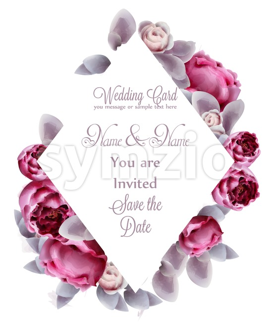 Pink peony flowers card watercolor Vector. Romantic floral invitation or greeting card decoration. Women day, Valentines Day, sales and other event Stock Vector