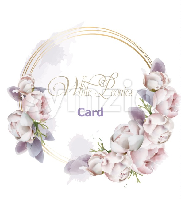 Peony flowers wreath card watercolor Vector. Romantic floral invitation or greeting card decoration. Women day, Valentines Day, sales and other event Stock Vector