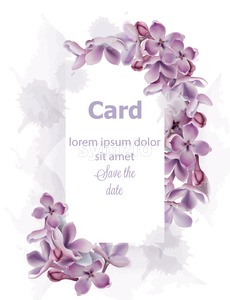 Purple lilac flowers card invitation Vector watercolor. Romantic floral wedding or greeting card decoration. Women day, Valentines Day, sales and Stock Vector