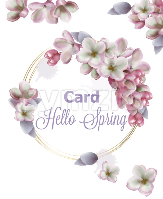 Lilac flowers wreath card Vector watercolor. Romantic floral wedding or greeting card decoration. Women day, Valentines Day, sales and other ...