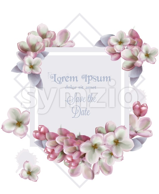 Lilac flowers card invitation Vector watercolor. Romantic floral wedding or greeting card decoration. Women day, Valentines Day, sales and other event Stock Vector