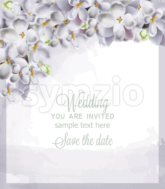 Wedding card spring hydrangea flowers Vector. Romantic floral invitation or greeting card decoration. Women day, Valentines Day, sales and other event Stock Vector