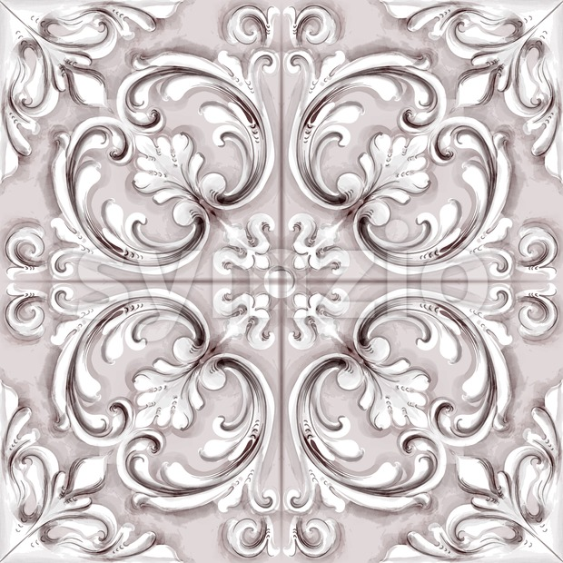 Tile or mosaic ornament Vector watercolor. Medalion rosette style decor template