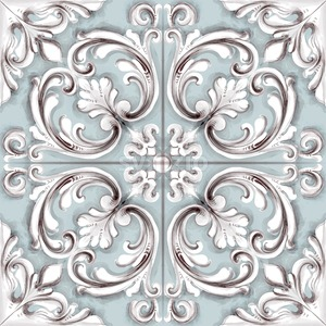Tile or mosaic ornament Vector watercolor. Medalion rosette style decor template Stock Vector