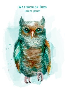 Blue owl colorful Vector watercolor. Exotic bird isolated on white Stock Vector