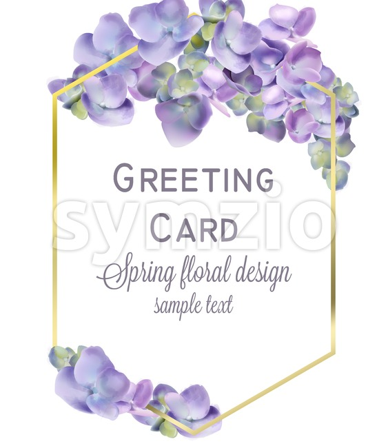 Wedding card with spring hydrangea flowers Vector. Romantic floral invitation or greeting card decoration. Women day, Valentines Day, sales and other Stock Vector
